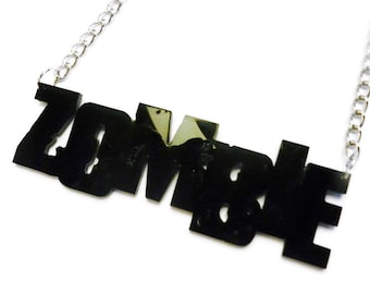 ZOMBIE Acrylic Necklace More Colors Horror Walking Dead Undead Evil Corpse Halloween Spooky Costume Pinup Zombies