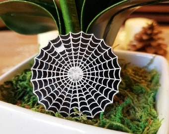 Spiderweb Laser Cut Pin Back Brooch Gothic Web Spider Horror Spooky Black and White Acrylic Pinup 1.5 Inches