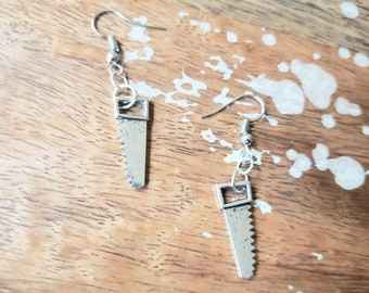 Saw Horror Earrings Small Dangle Drop saws Gothic Slasher killer con wood working carpenter furniture bone