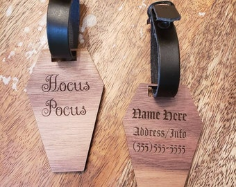 Personalized Coffin Luggage Bag ID Tag Travel Custom Walnut Wood Faux Leather 2 Sided Engraved Laser Cut Gothic Horror Hocus Pocus