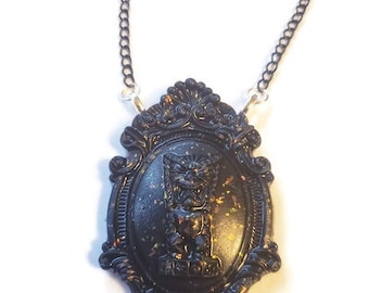 Tiki Monster Ornate Necklace Glittered Black Baroque Torture Couture Gothic Goth Horror Black