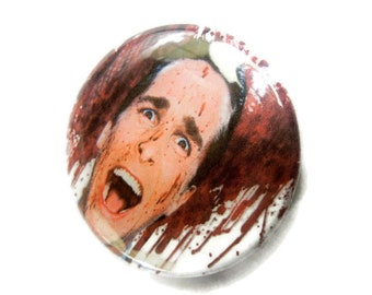 American Psycho Patrick Bateman Button comicon Bubblegoth Torture Couture Goth Gothic lolita 90s brooch pin flair punk leather jacket egl