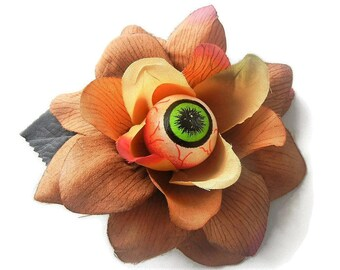 Eyeball Eye Brown Earthy Rose Hair Flower Clip Torture Couture Horror Lolita Goth Gothic Halloween Floral Roses