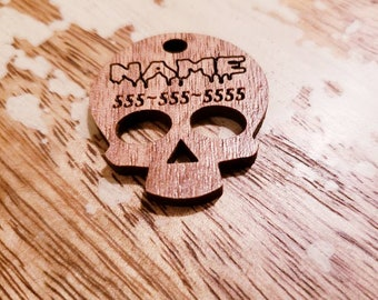 Gothic Skull Bloody Pet ID Tag Custom Walnut Wood Personalized Muertos Wooden 1.5 Inch 2 Inch Light Laser Cut Dog Cat Leash Collar Charm