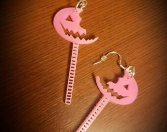 Sam Lollipop Acrylic Earrings Orange Black Handmade Trick R Treat Horror Torture Couture Gothic Goth Lolita Halloween Anthology Gore pumpkin