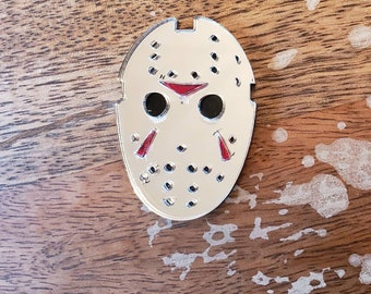 Jason Voorhees Mask Pin More Colors Brooch Torture Couture Gothic Goth Lolita Halloween Horror Friday the 13th Camp Crystal Lake Slasher