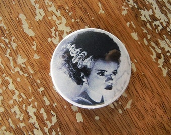 Bride of Frankenstein Button Torture Couture Horror Goth Gothic 90s brooch pins flair punk leather jacket egl monster