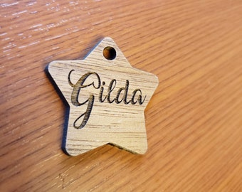 Star Shape Pet ID Tag Walnut Wood Personalized Script Wooden Laser Cut Collar Charm Script Font