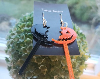 Sam Lollipop Acrylic Earrings Orange Black Handmade Trick R Treat Horror Torture Couture Gothic Goth Lolita Halloween Anthology Gore pumpkin