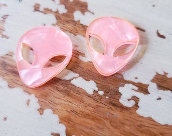 Pearl Marbled Pink Alien Studs 1 Inch Earrings moon child space cadet rave candy raver festival aliens et kawaii lolita