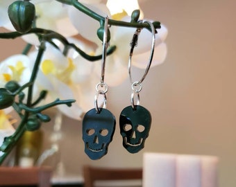 Black Skull Hoops Gothic Undead Skulls silver Metal Hoop Dangle Charms Removable Lolita