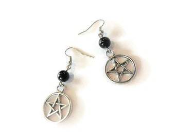 Pentacle Bead Hook Earrings Torture Couture Gothic Goth Pinup Lolita  mermaid horror kawaii pastel hipster Witch White Hooks