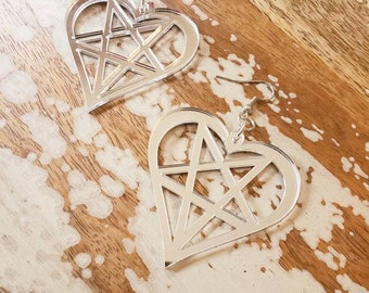 Mirrored Silver Heartagram Pentaheart Hook Earrings Torture Couture Gothic Goth WITCH horror coffin grave crosses pentacles graveyard
