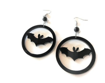 Vampire Bat Hoop Hoops Hook Earrings Torture Couture Gothic Goth WITCH horror Bats Vamp Vampires Batman Catwoman DC comiccon superhero