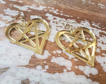 Mirrored Gold Heartagram Pentaheart Hook Earrings Torture Couture Gothic Goth WITCH horror coffin grave crosses pentacles graveyard