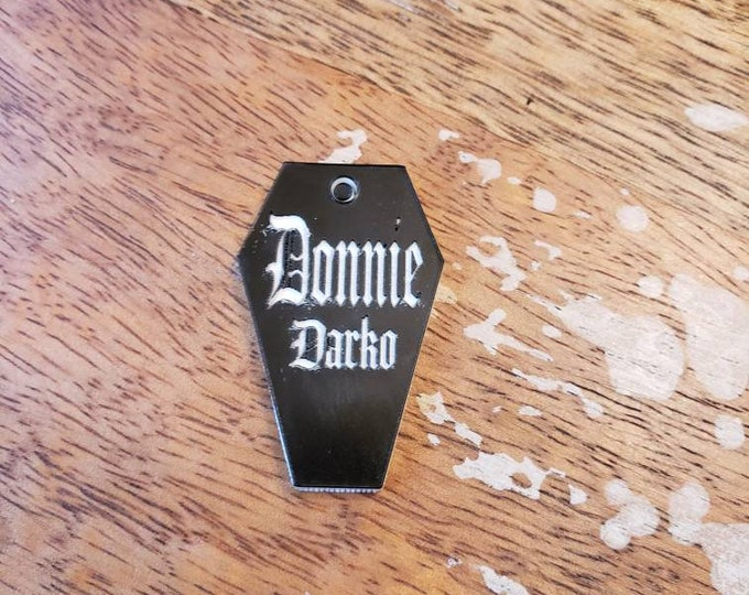 Featured listing image: BLACK White Gothic Coffin Pet ID Tag Custom  Personalized Vampire Acrylic 1.5 Inch 2 Light Laser Cut Dog Cat Leash Collar Charm