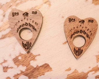 Ouija Wood Wooden Planchette Earrings Studs Torture Couture witch b movie lolita cult pagan occult seance the craft board goth gothic