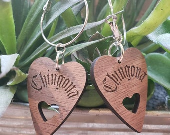 Walnut Wooden CHINGONA Witch Hoops Gothic Silver Color Metal Hoop Dangle Charms Removable Lolita Chicana Goth Heart Ouija Planchette