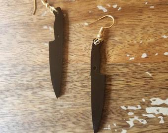 Knife Silhouette Earrings Hook Hooks Kitchen Chef Slasher Horror Culinary Hannibal Cook Sous Knives Black Gold Tone