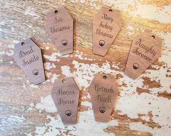 12 Qty 3 Inch Coffin Skull Custom Gift Tags Wooden Walnut Wood Clothing Tag Ornament Pendants Engraved Personalized Customizable Gothic