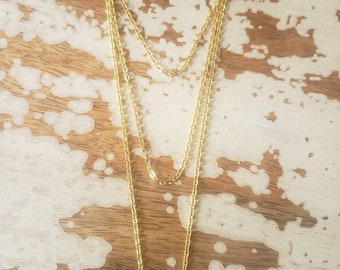Chained Bone Multi Strand Necklace
