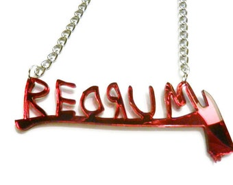 REDRUM Necklace More Colors Torture Couture overlook hotel the shining axe murderer horror gore room 237 jack