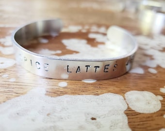 Pumpkin Spice Lattes 4ever Cuff Bracelet Aluminum Hand Stamped Black Fall Halloween Coffee Caffeine pumpkins patch nutmeg latte Goth lolita
