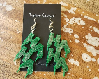 HAHA Joker Glitter Green Hook Earrings Torture Couture Gothic Goth Gotham Clown suicide squad comic book con cosplay