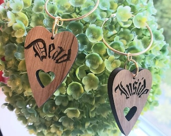 Dead Inside MORE CHOICES Walnut Wooden Hoops Gothic Silver Color Metal Hoop Dangle Charms Removable Goth Heart Ouija Planchette