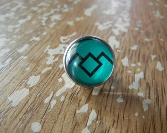 Twin Peaks Owl Turquoise Teal Circular Pin Fire walk with Me Laura Palmer Agent Cooper David Lynch Washington Symbol Pins Glass Dome