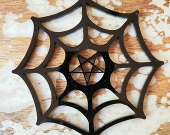 Spiderweb Pentagram Snowflake Ornament Torture Couture Gothic Horror Goth Acrylic Lolita Star Witch Christmas Xmas Occult Ornaments Web