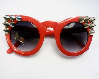 Red Spiked Wolf Sunglasses Torture Couture Oversize Cateye
