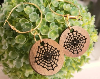 Walnut Wooden Spiderweb Hoops Gothic Gold Color Metal Hoop Dangle Charms Removable web