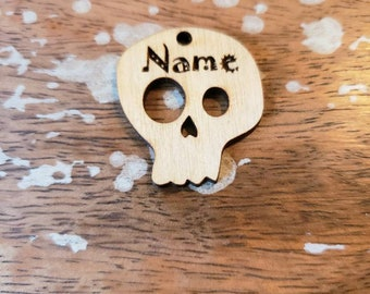 Spooky Skull Pet ID Tag Custom Birch Wood Personalized Muertos Wooden 1.5 Inch 2 Inch Light Laser Cut Dog Cat Leash Collar Charm Goth Font
