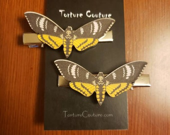Death Moth Hair Clips Black Yellow White Silence of the Lamb lambs skull Hannibal Lecter Buffalo bill horror Acrylic Laser Cut Butterfly
