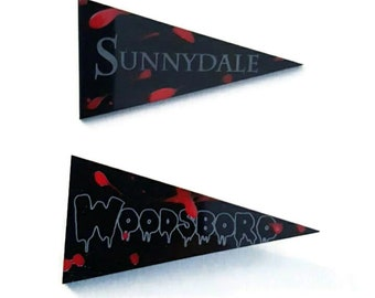 Pennant Horror Woodsboro Sunnydale Brooch Choose Torture Couture  slasher Scream ghost face buffy the vampire slayer cult comicon
