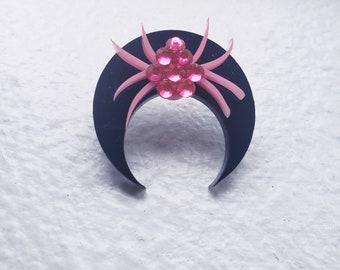 Crescent Spider Adjustable Ring Crystal More Colors