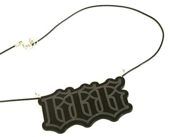 Matte Black 666 Necklace Choker Torture Couture satan occult witch bad religion Gothic goth metal
