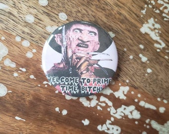 WELCOME to Prime Time B Freddy krueger Nightmare Elm St Torture Couture Goth Gothic lolita 90s brooch pin flair punk leather jacket egl