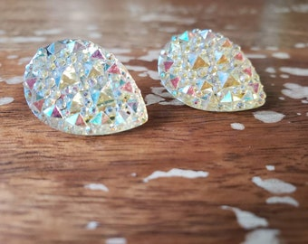 Cream White Teardrop Galactic Iridescent Teardrop Stud Earrings Sparkle pinup burlesque showgirl kawaii
