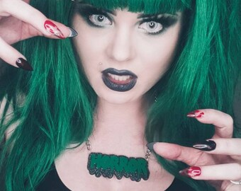 Glittery HORROR Necklace Green Black Gothic Goth Lolita Gore Spooky Kawaii Bloody Blood Drippy Drip melting