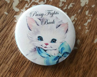 Pussy Fights Back Bowtie Bow Tie Cat Kitten kittens Christmas Button Torture Couture bad kitty pussycat Xmas holiday lolita feminist
