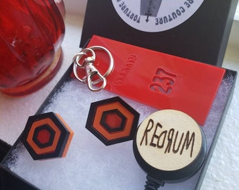 The Shining Gift Set Earrings Studs Key Chain Badge Reel Trio Torture Couture Horror Kubrick stephen king colorado overlook hotel