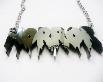 CUSTOM HORROR Font Word Acrylic Necklace silver chain Torture Couture monster squad gothic goth slasher gore blood crystal lake mutant