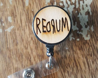 REDRUM Wooden Horror the Shining hotel Wood Etched Black Badge ID Reel Holder Retractable