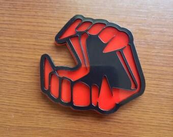 Red Vampyre Teeth Pin Brooch Vampire Plastic 80s Laser Cut ACRYLIC Horror gothic goth fanger true blood Vamp kitsch