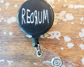REDRUM Matte Black White Horror the Shining hotel Wood Etched Black Badge ID Reel Holder Retractable
