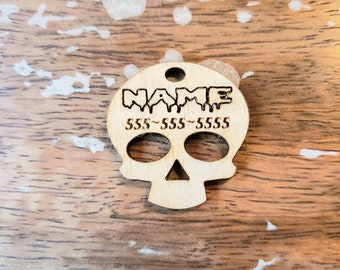 Gothic Skull Bloody Pet ID Tag Custom Birch Wood Personalized Muertos Wooden 1.5 Inch 2 Inch Light Laser Cut Dog Cat Leash Collar Charm