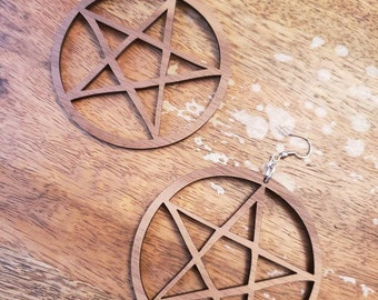 Large Wooden Walnut Pentacle Hoops Earrings Torture Couture  Stars Gothic Witch Wiccan Pagan Lolita Horror Goth Minimal Star Love Natural