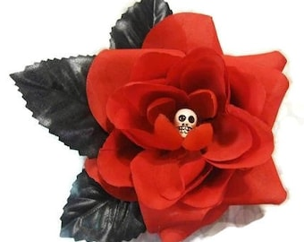 Goth Skull Rose, Hair Flower, Clip, Gothic, Torture Couture lolita egl floral clip fascinator garden festival pinup burlesque